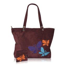 Дизайнерская сумка от MAPO, тема: Три бабочки+портмоне (бордо)