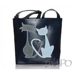 Дизайнерская сумка от MAPO, тема: Влюбленные коты (синяя)