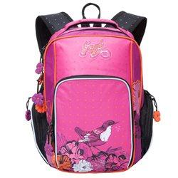 Рюкзак школьный Grizzly, цвет: черный - розовый